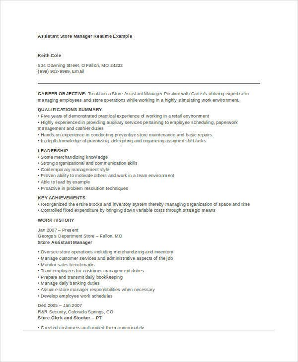 Assistant Store Manager Resume  Assistant Manager Job Description Resume