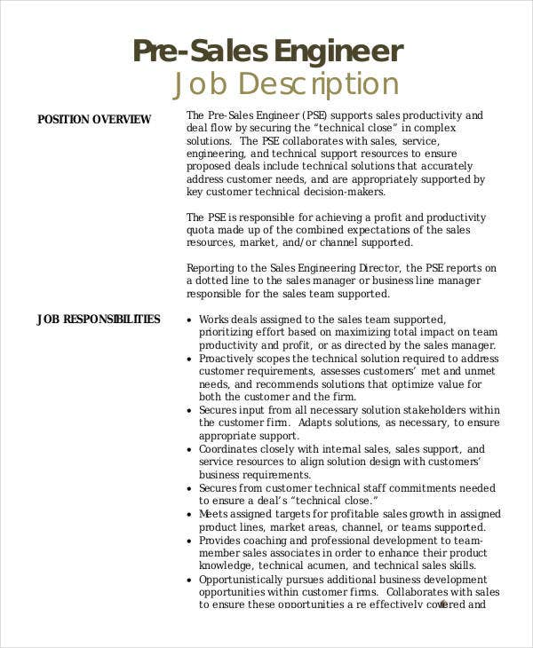 sales engineer job description templates pdf doc free - Sample Resume Pre Sales Manager