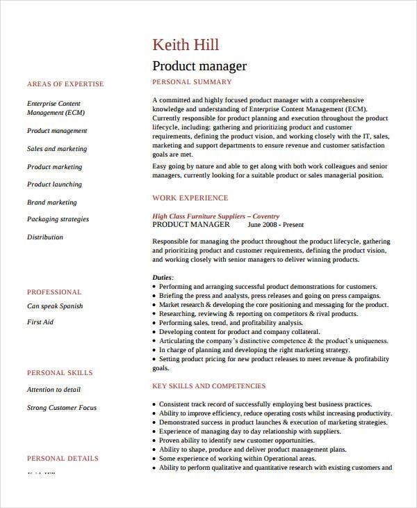 best product marketing manager resume