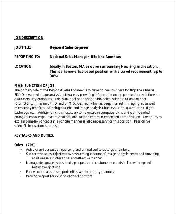 Regional Sales Engineer Job Description