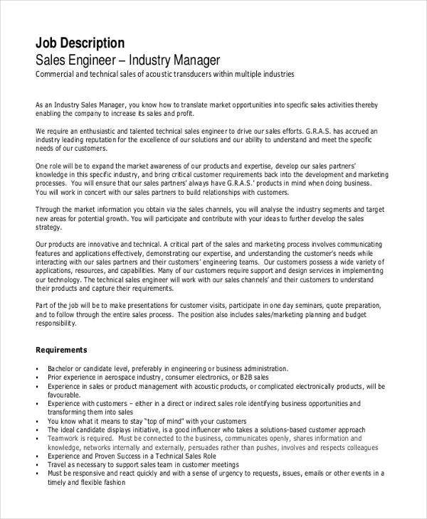Industrial Sales Engineer Job Description