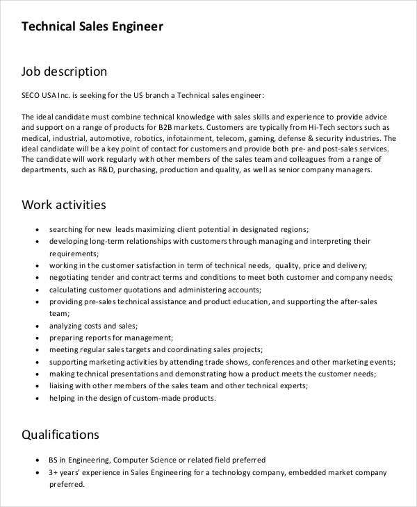 Sales Engineer Job Description - 7+ Free Word, Pdf Documents