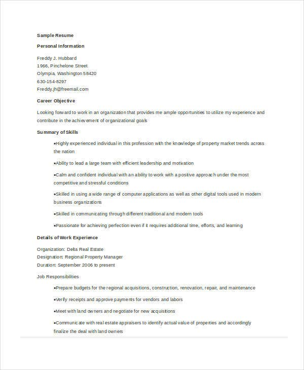 regional property manager resume - Real Estate Manager Resume
