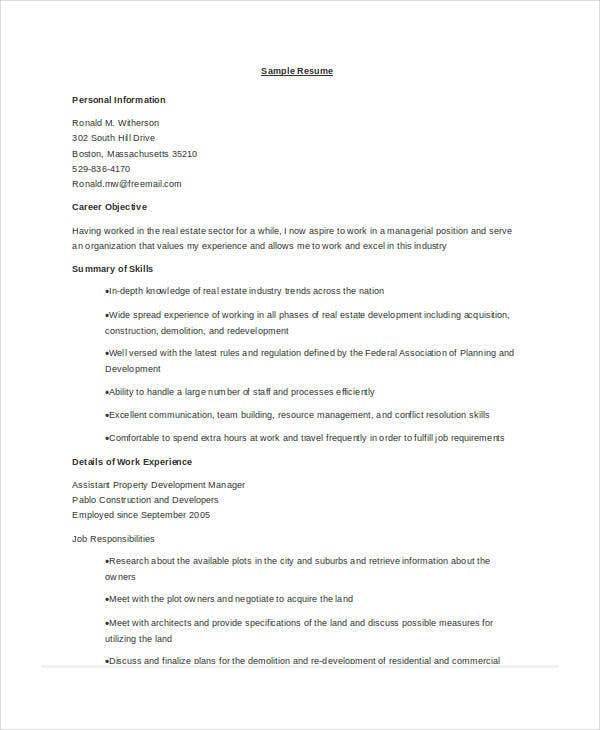 10+ Sample Property Manager Resume Templates - PDF, Word ...