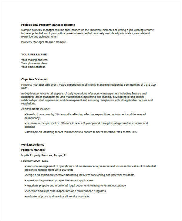 professional property manager resume