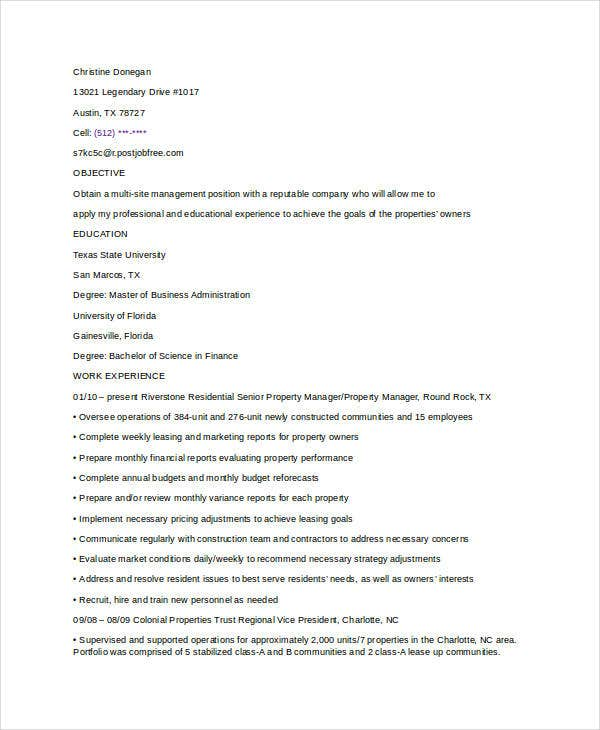 9+ Property Manager Resume Templates - PDF, DOC | Free & Premium ...