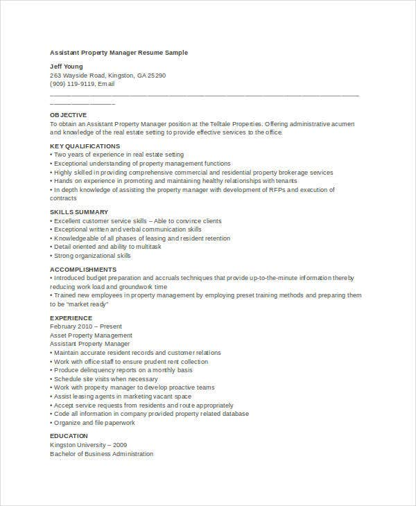 assistant property manager resume - Apartment Manager Resume