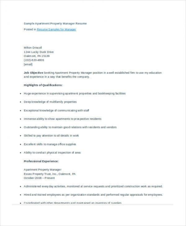 apartment property manager resume - Apartment Manager Resume