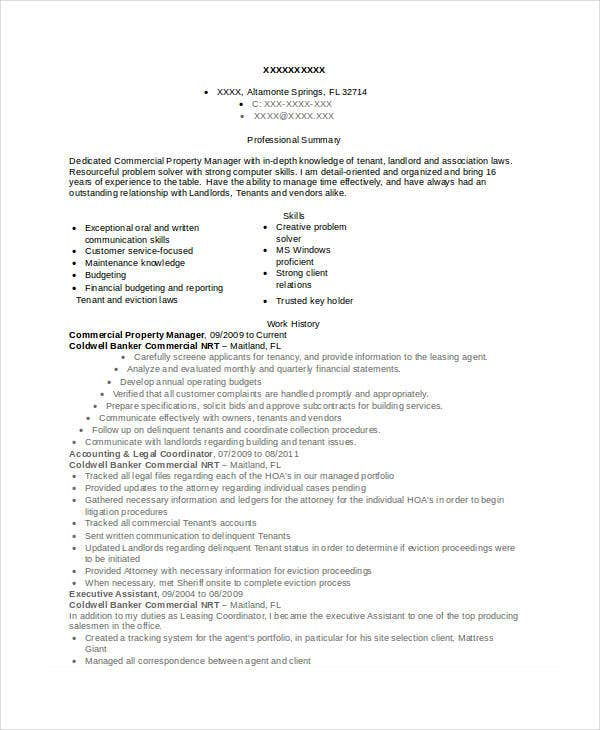 Amazing Commercial Property Manager Resume Regard To Commercial Property Manager Resume