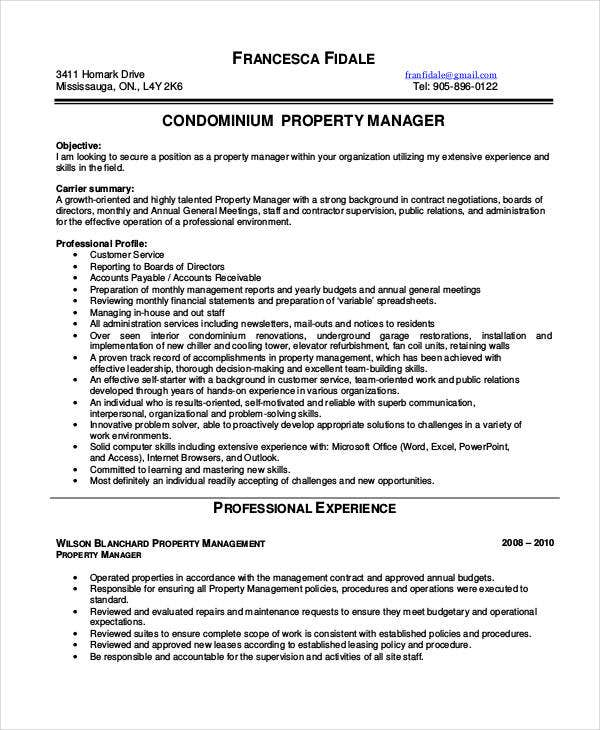 Condomium Property Manager Resume