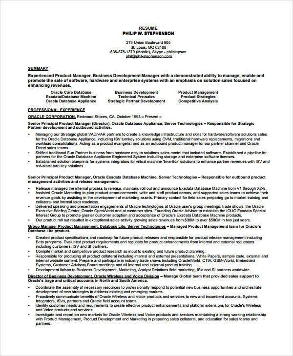 Best Product Manager Resume