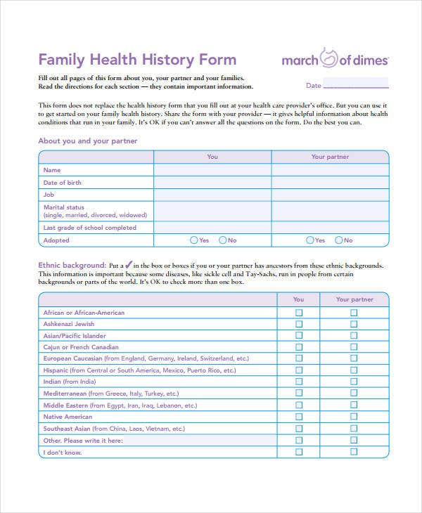 Family Medical History Form