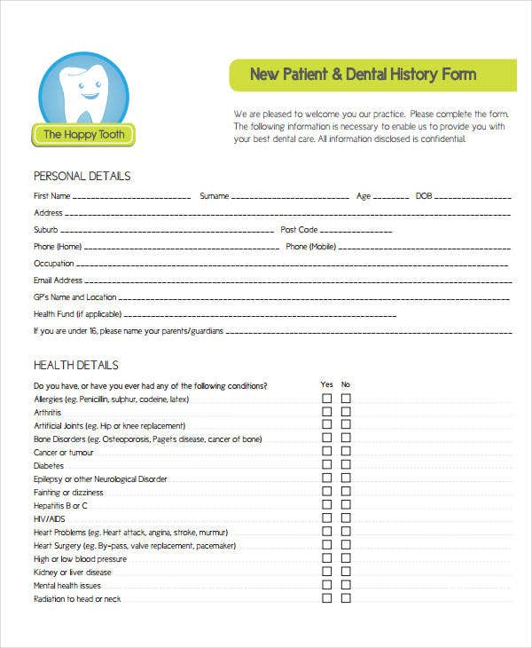 Medical History Form   Free Pdf Documents Download  Free
