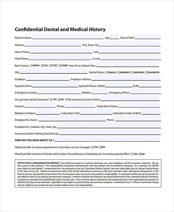Dental Medical History Form