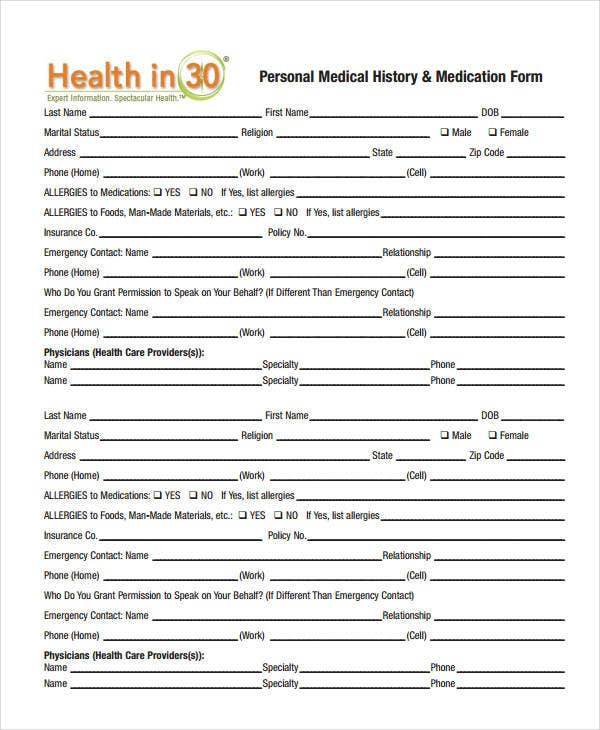 medical history form 9 free pdf documents download free