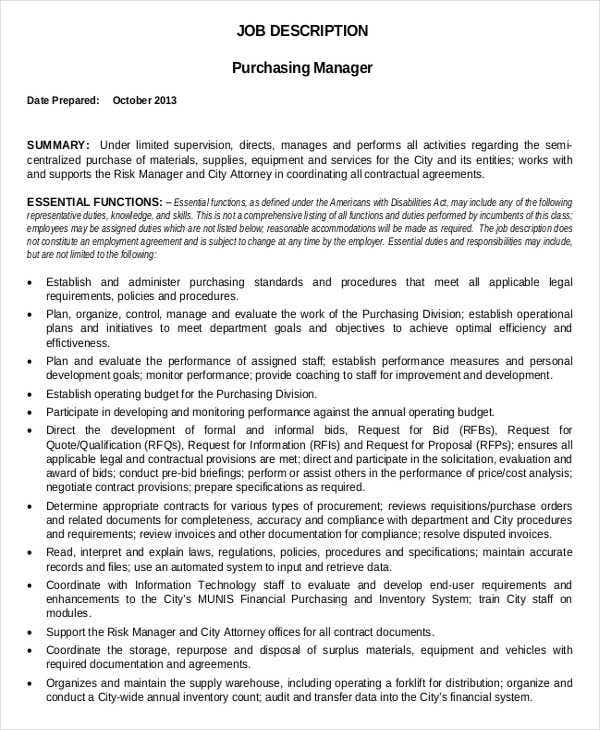 Amazing Purchasing Manager Job Description Template In PDF
