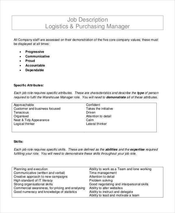 Purchasing Manager Job Description   Free Word Pdf Documents