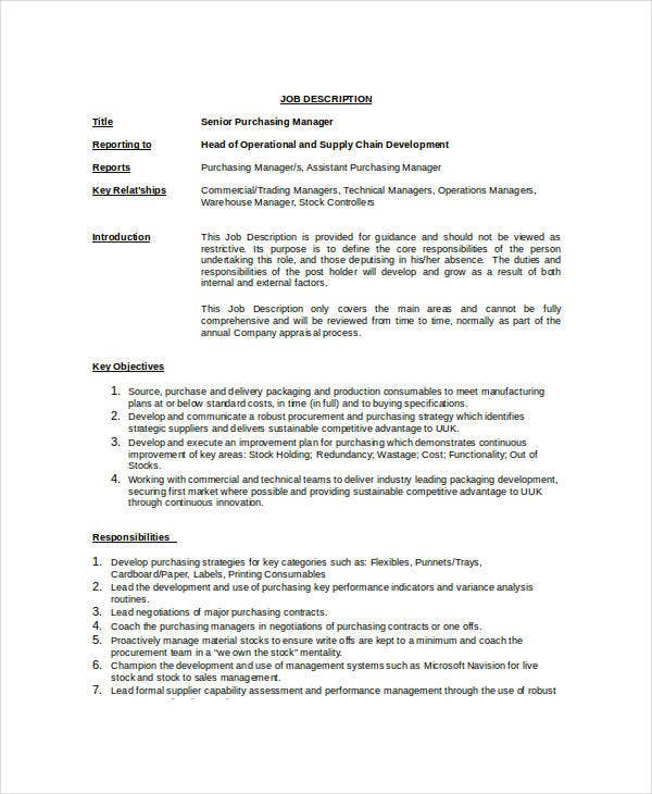 Purchasing Manager Job Description 7 Free Word PDF Documents – Job Description Template Word