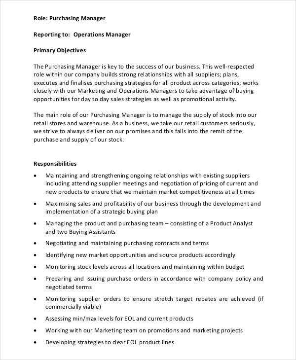 Purchasing Manager Executive Job Description