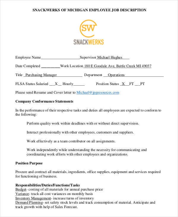 snackwerks purchasing manager job description