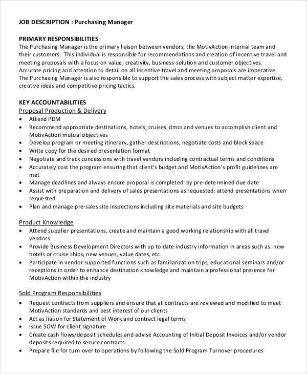 purchasing manager primary job description template in pdf