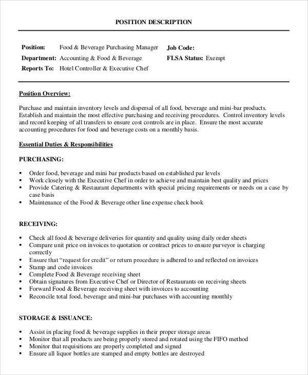 Purchasing Manager Job Descriptions In Pdf  Free  Premium Templates