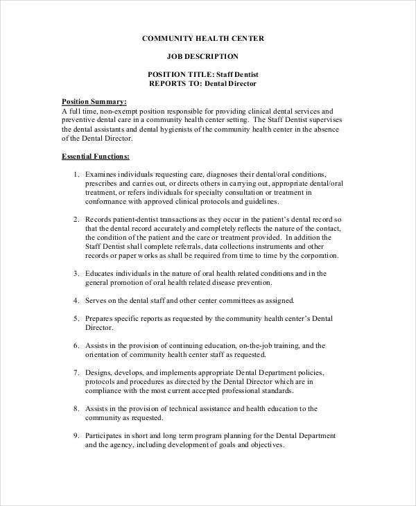 Dentist Job Description   Free Word Pdf Documents Download