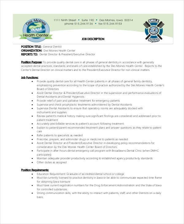 general dentist job description - Practice Director Job Description