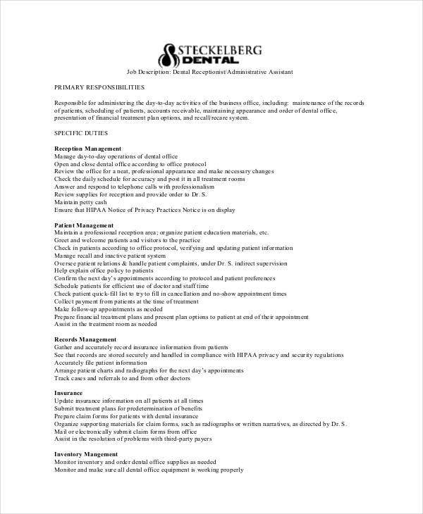 Dentist Receptionist Job Description