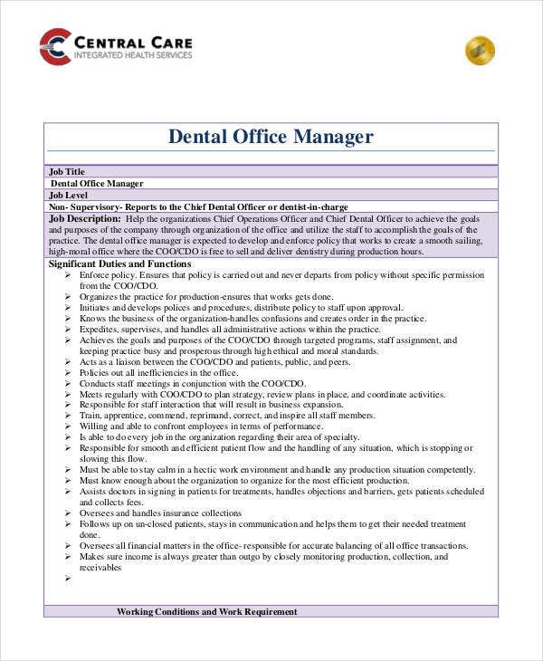 Dentist Office Manager Job Description