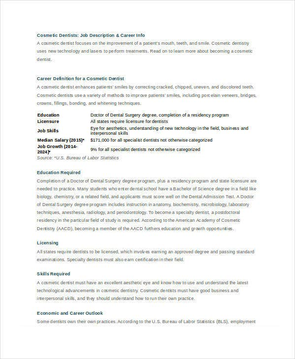 Sample Dentist Job Description Templates  Pdf Doc  Free