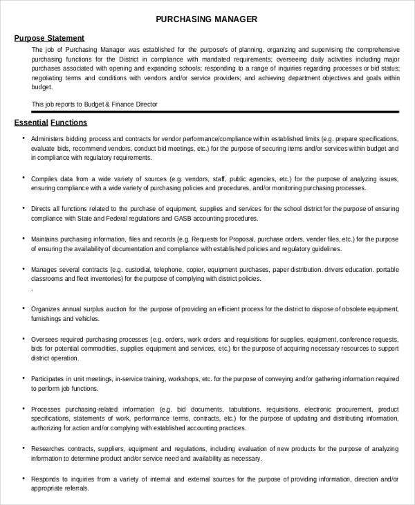 school district purchasing manager job description template in pdf