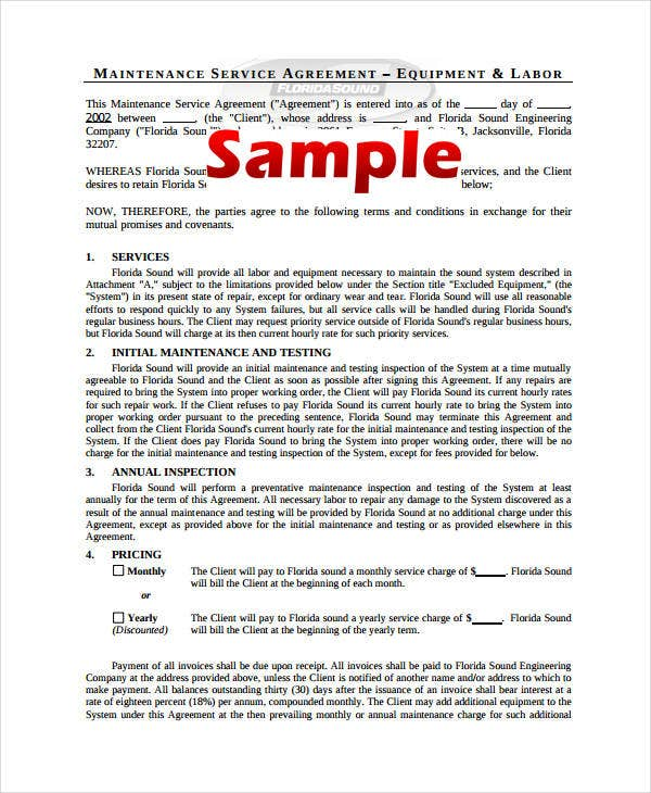 maintenance service agreement template