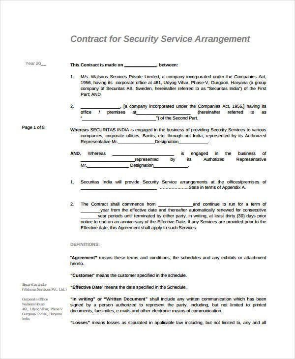 Service agreement 9 free pdf word documents download for Security contracts templates