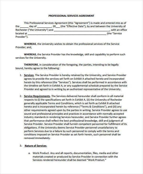 Professional Service Agreement Template