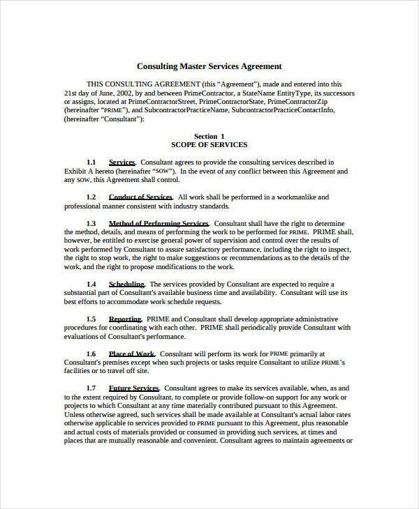 Service Agreement 9 Free PDF Word Documents Download – Standard Consulting Agreement