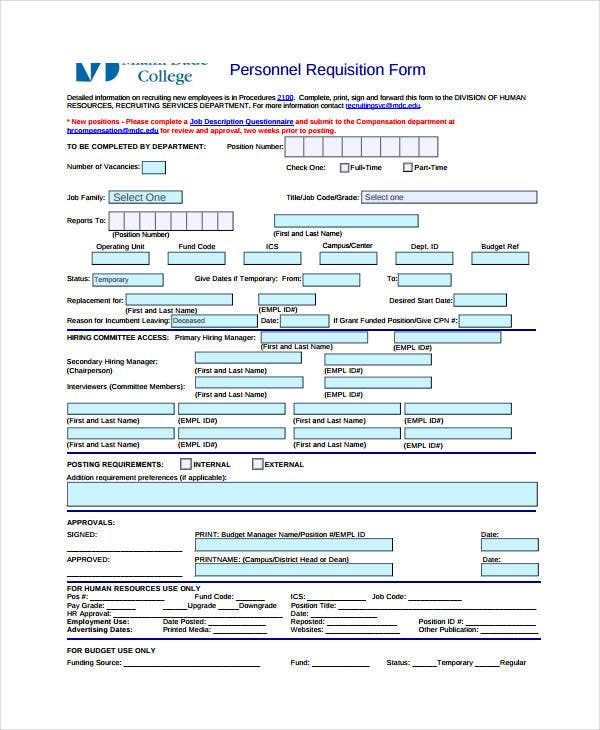 Personnel Requisition Form