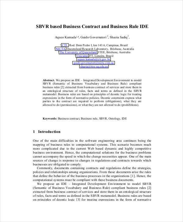 SBVR based Business Contract Template