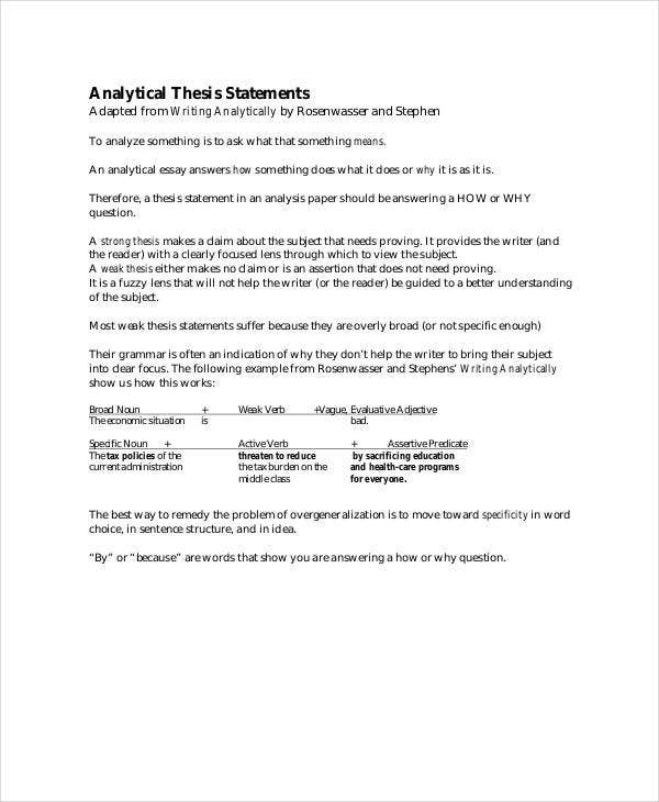 thesis statement template   free pdf word documents download  analytical thesis statement template