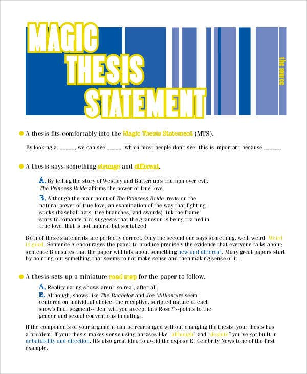 Thesis Statement Template   Free Pdf Word Documents Download