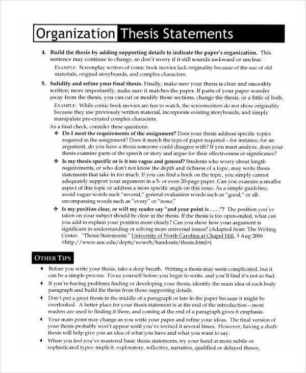 what is the rationale for an organizational thesis statement This resource provides tips for creating a thesis statement and examples of different types of thesis statements.