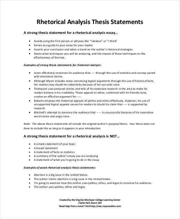 Rhetorical Analysis Thesis Statements. Vwc.edu