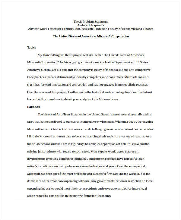 Thesis Problem Statement Template