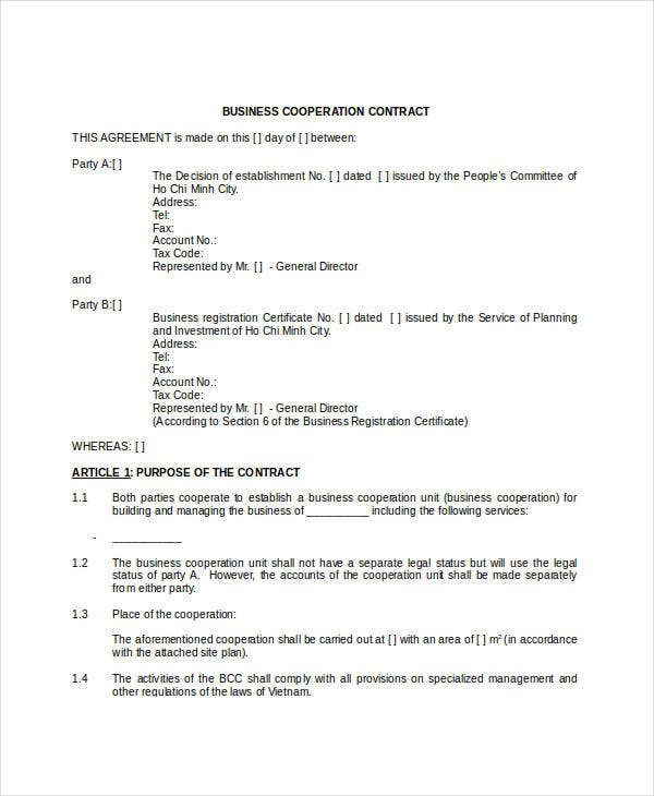 Business Co-Operation Contract Template