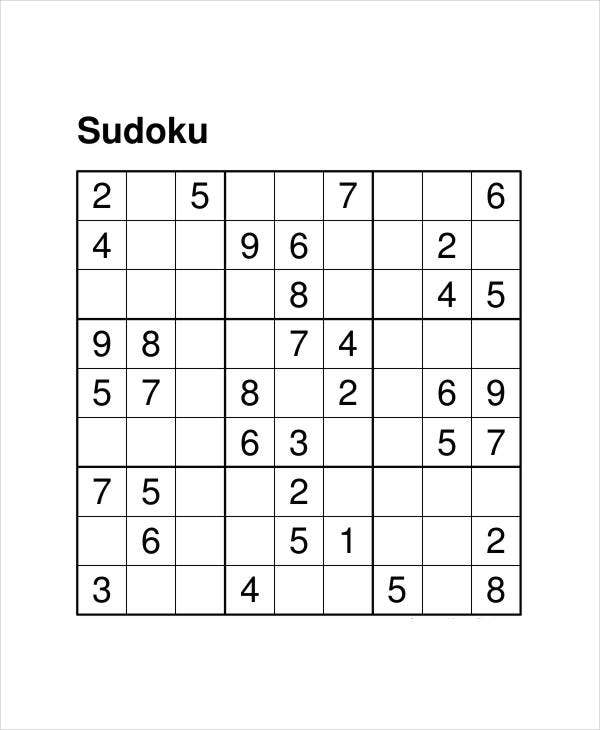 image about Printable Sudoku Grid named Printable Sudoku Puzzle - 7+ Cost-free PDF Files Down load