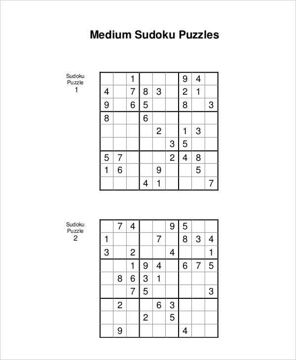 graphic relating to Printable Sudoku Medium named Printable Sudoku Puzzle - 7+ Totally free PDF Data files Down load