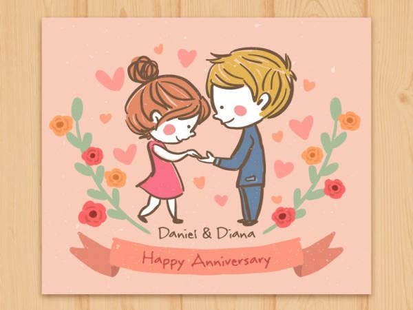Free Happy Couple Anniversary Card