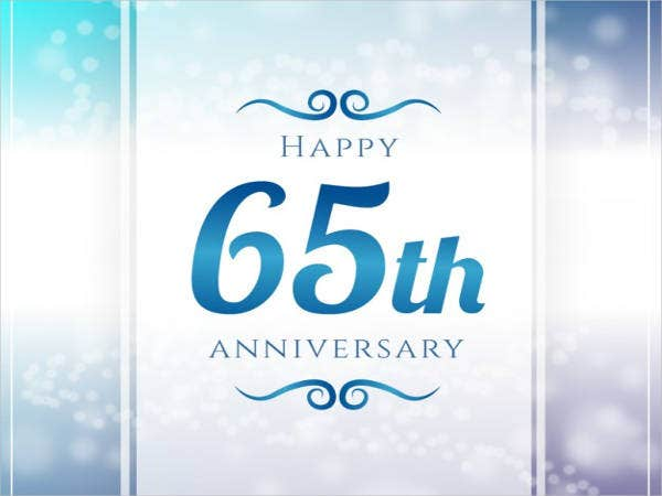 Free 65th wedding Anniversary Card