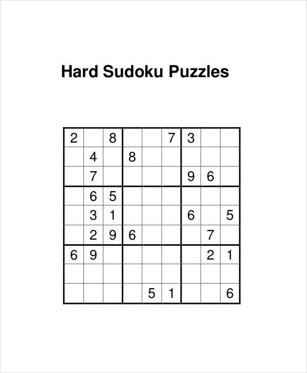 graphic regarding Hard Sudoku Puzzles Printable identified as Printable Sudoku Puzzle - 7+ Cost-free PDF Files Obtain