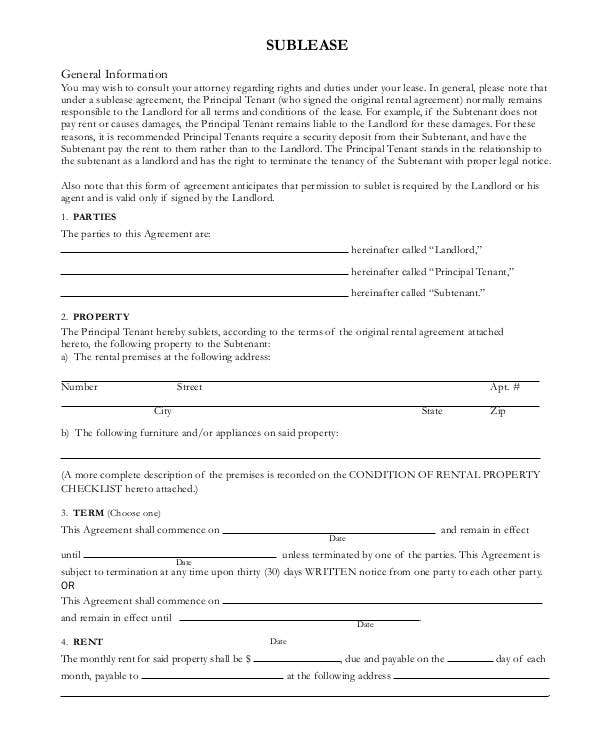 basic sublease contract template